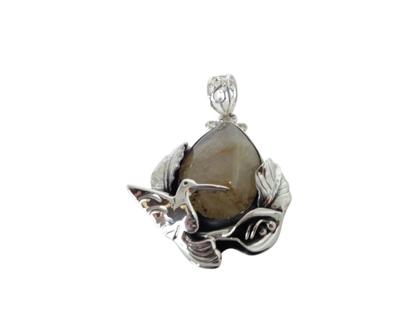 No Mas! Rutilated Quartz Calilily 925 Silver Pendant