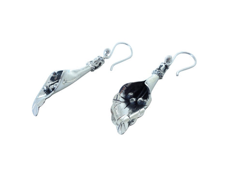 No Mas! 4.5cm HANG Calililly Flower 925 Silver Earrings