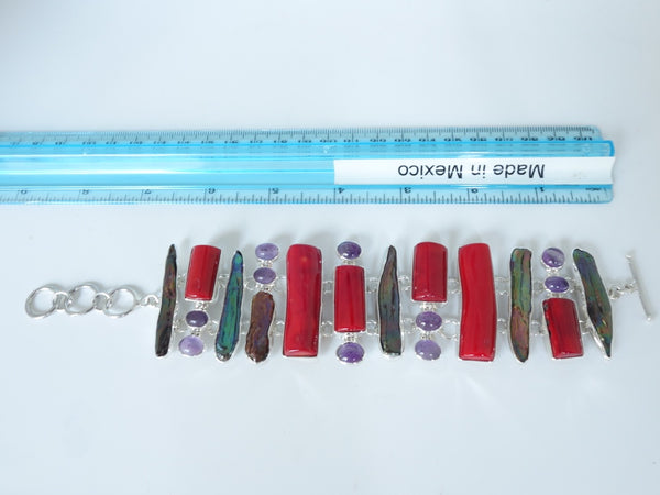No Mas! 21cm Coral Amethyst Abalone Solid 925 Silver Bracelet