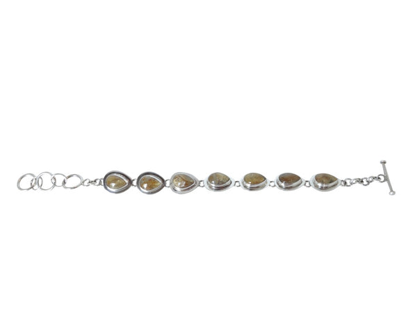 No Mas! 20cm Rutilated Quartz Solid 925 Silver Bracelet