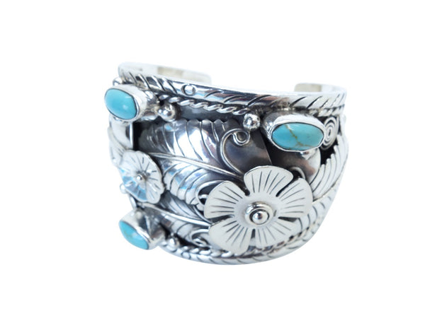 No Mas! 6cm CUFF with Turquoise Leaf and Flower accent Solid 925 Silver Bracelet