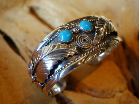 No Mas! Navajo Style with Turquoise Solid 925 Silver Bracelet