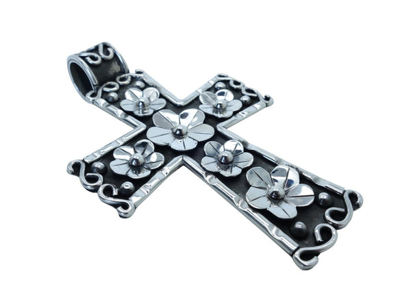 No Mas! 10cm Cross with Floral accents 925 Solid Silver