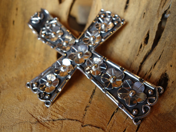 No Mas! 12cm Cross with Floral Accents 925 Solid Silver