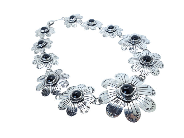 No Mas! William Spratling Design Solid 925 Silver Necklace with Floral Accents