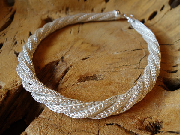 No Mas! Braided Rope chain polished silver