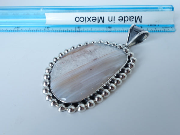No Mas! 6cm Agate Strength Healing Solid 925 Silver Pendant