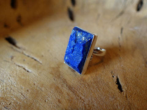 No Mas! Size 7 Lapis 925 Solid Silver Ring