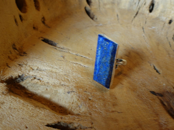 No Mas! Size 7.5 Lapis 925 Solid Silver Ring