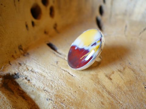 No Mas! Size 7 Oval Jasper Solid Silver Ring
