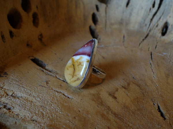 No Mas! Size 8 Teardrop Jasper Solid 925 Silver Ring