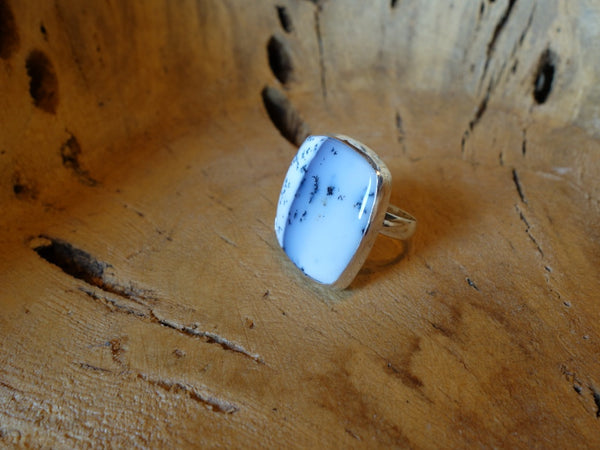 No Mas! Size 7 Dentrite Opal Solid 925 Silver Ring