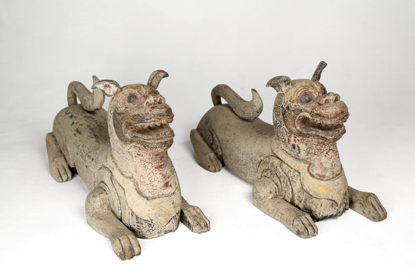 Carved Wooden Cats