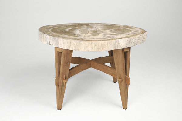 Petrified Wood Side Tables- Wood Base
