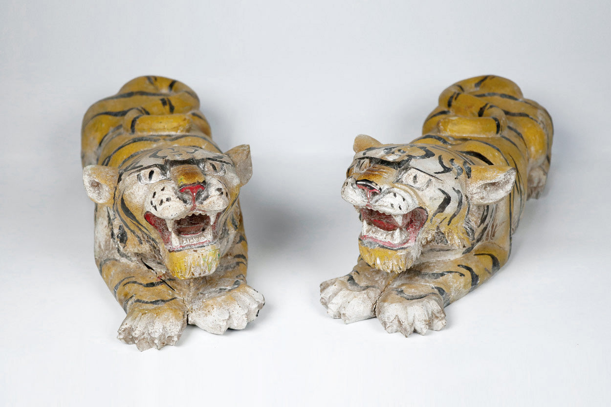Antique Wooden Carved Tiger Sculptures