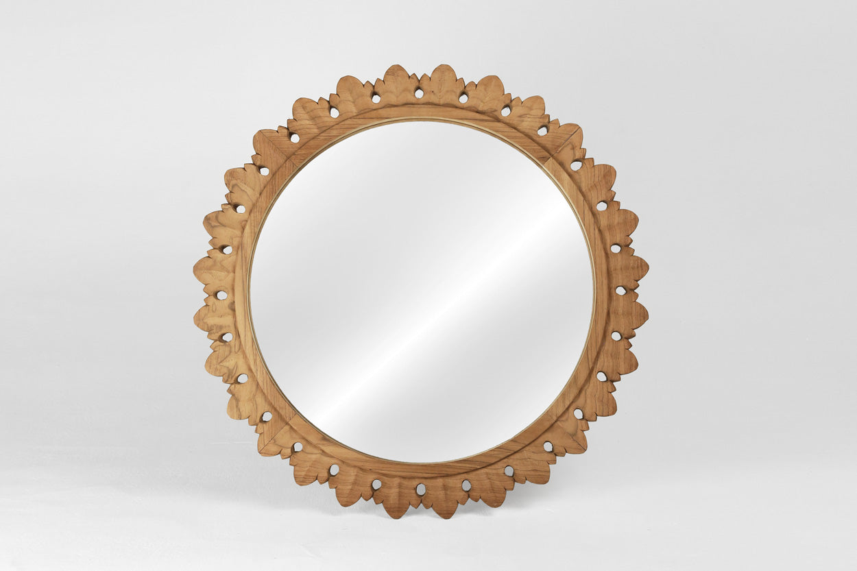 Carved Round Temple Mirror - Variation II