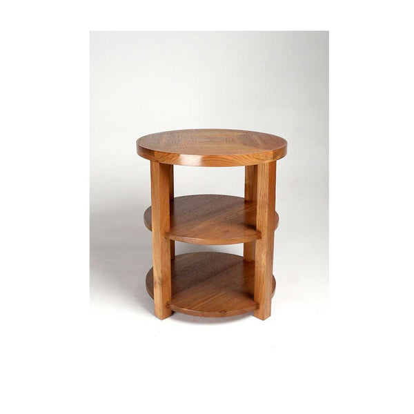 Round Drink Table with Shelves - Natural