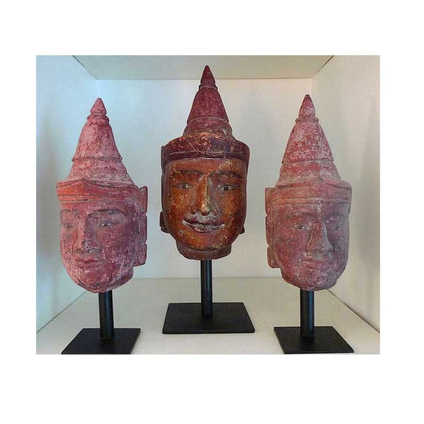 Antique Red Burmese Puppet Heads