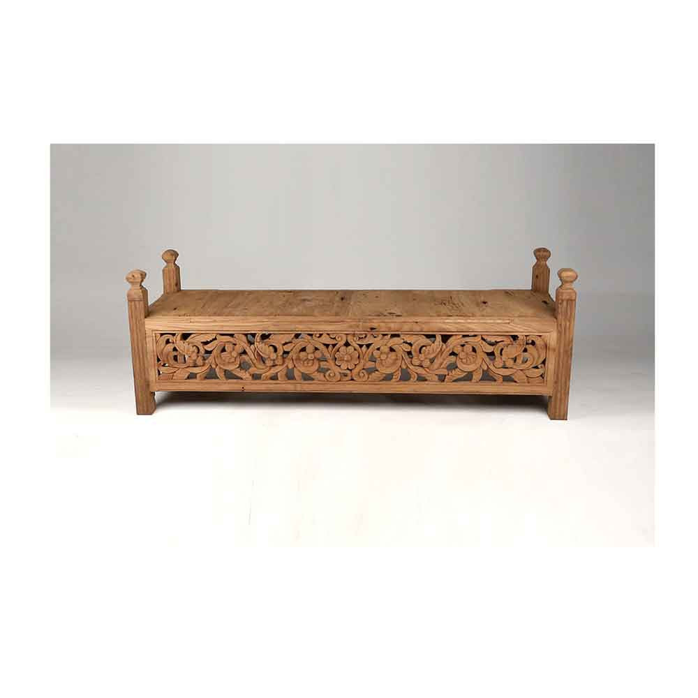 Large Carved Javanese Bench