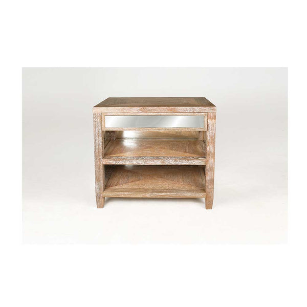 Cerused Style Mirrored Bedside Table