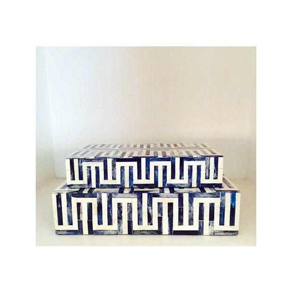 Blue & White Bone Boxes - Geometric Design