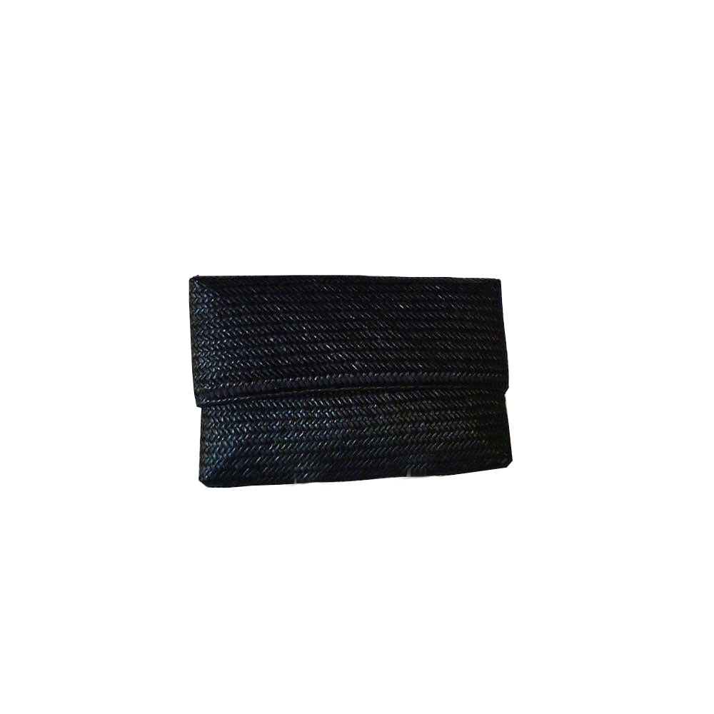 Straw Hand Clutch Black
