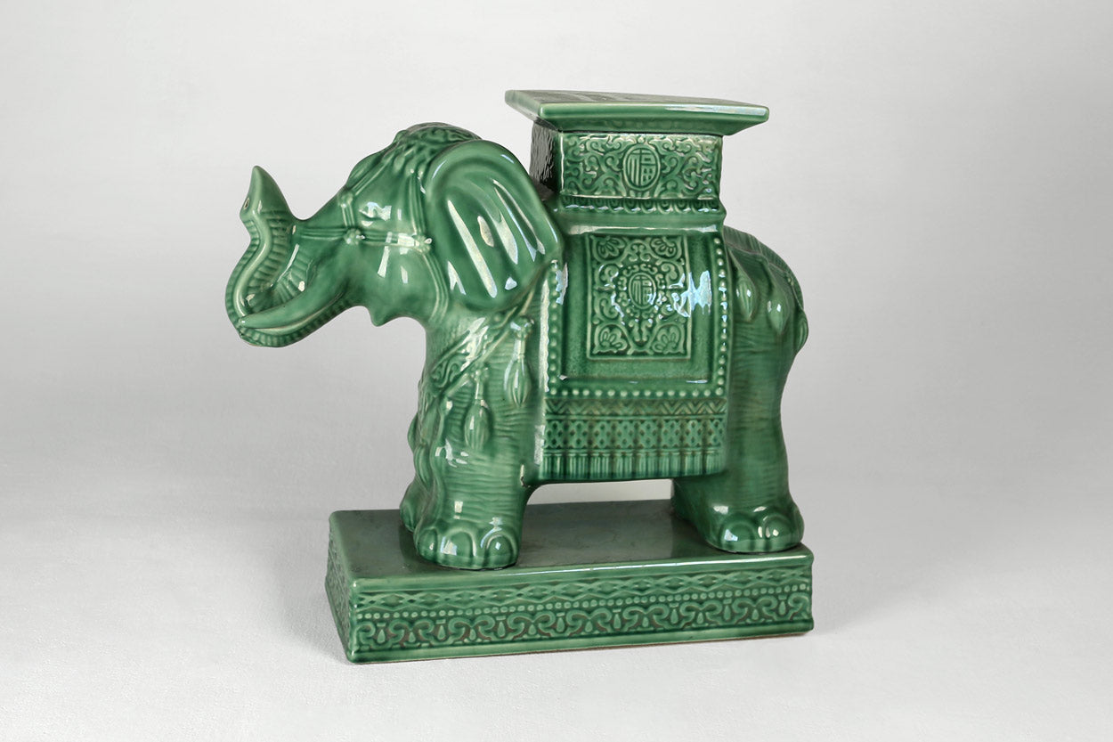 Green Ceramic Elephant Side Tables