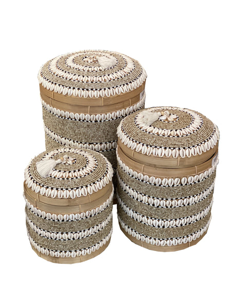 Indonesian Beaded Boxes- Round