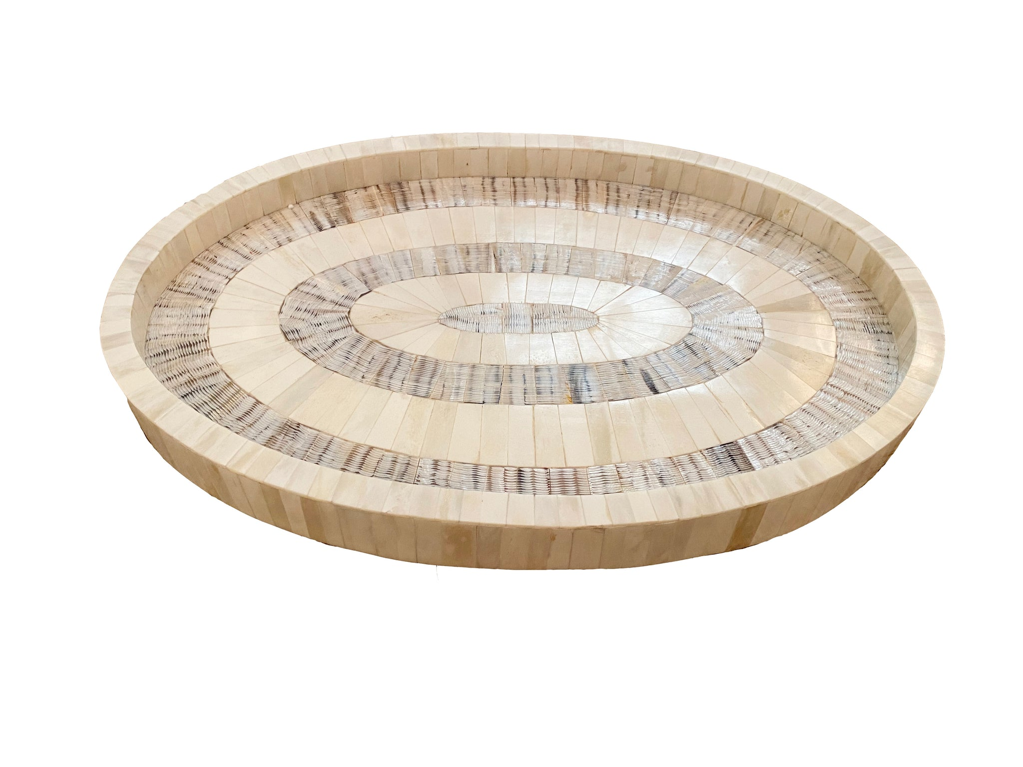 Oval Bone & Etched Horn Tray