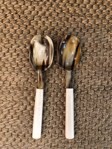 Natural Horn & Bone Salad Servers