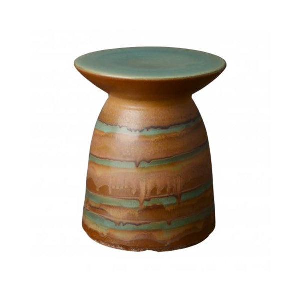 Jade Swirl Glazed Stool/ Side Table