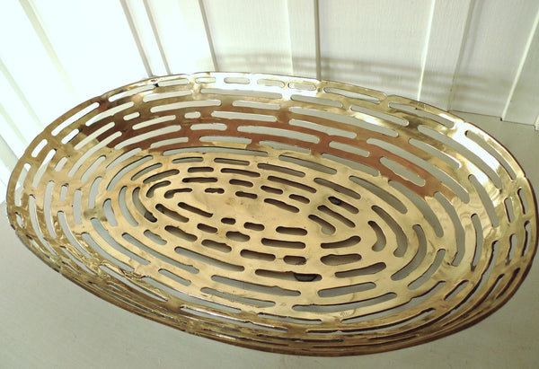 Bronze Geometric Oblong Bowl