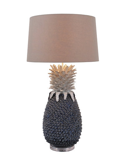 Large Blue Pineapple Ceramic Lamp