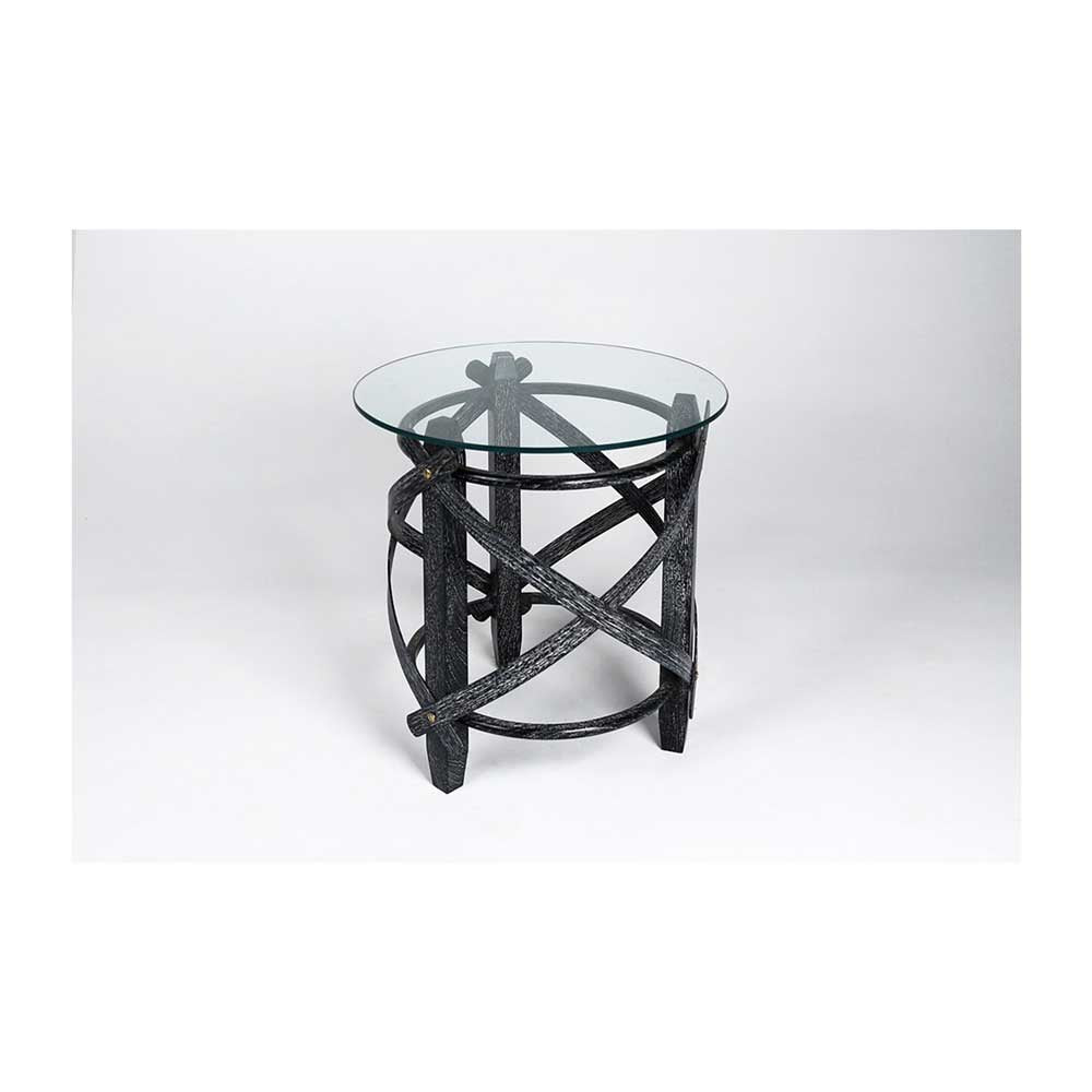 Wood Strap Glass Top Table