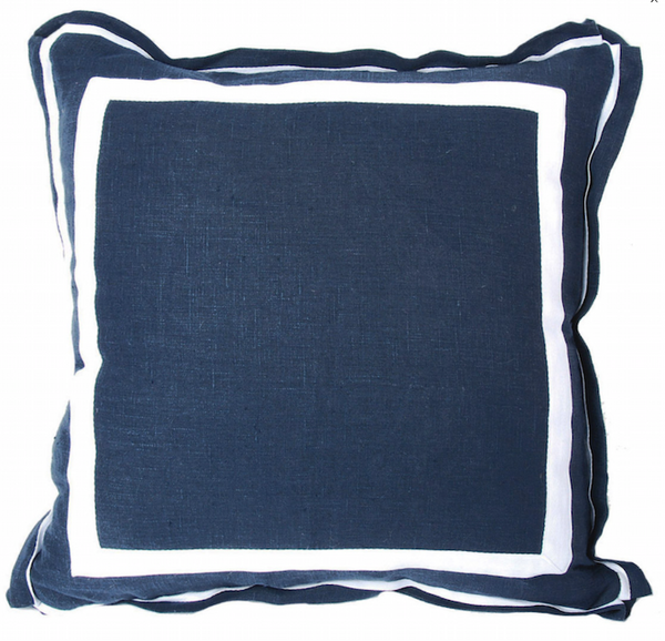 Navy Linen w/ White Border Pillow
