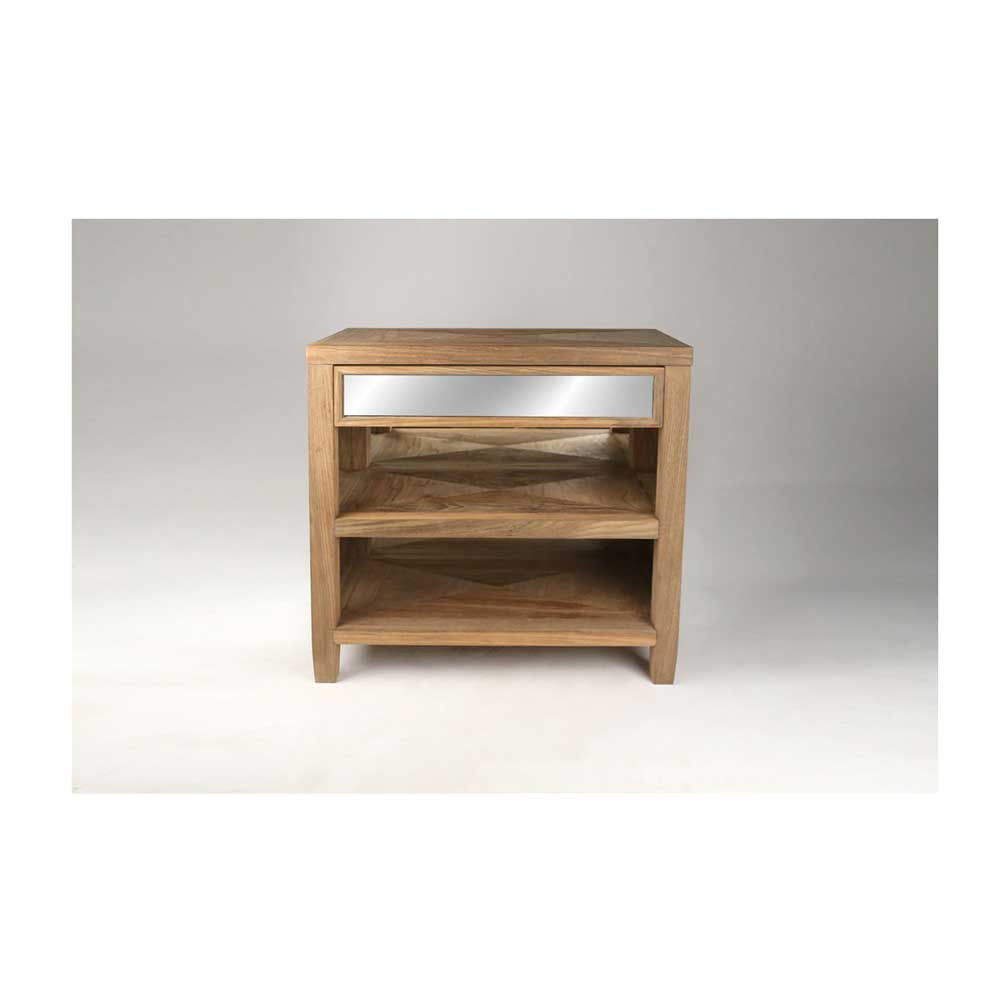 Mirrored Side Table in Natural