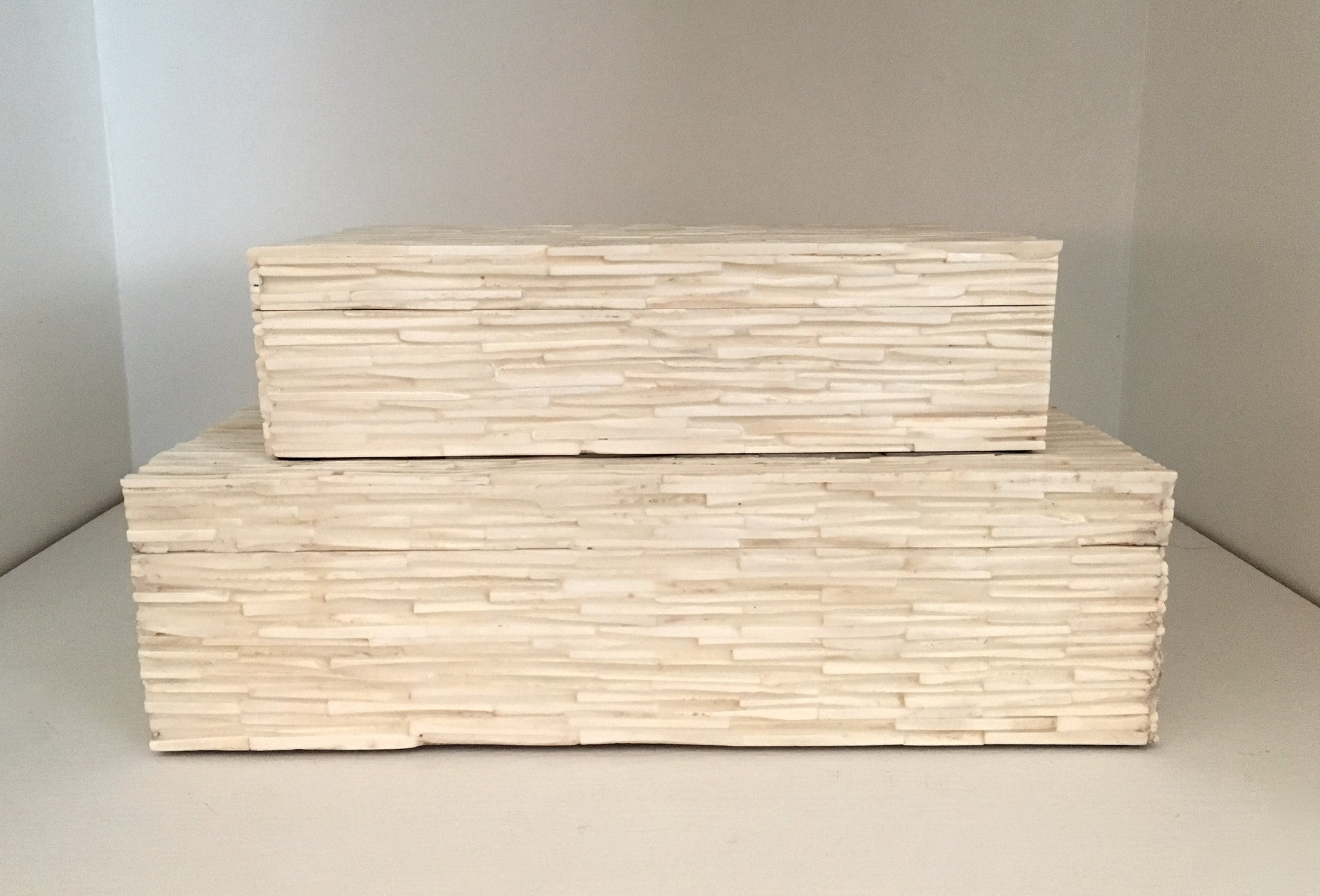 White Bone Boxes with Match Stick Design