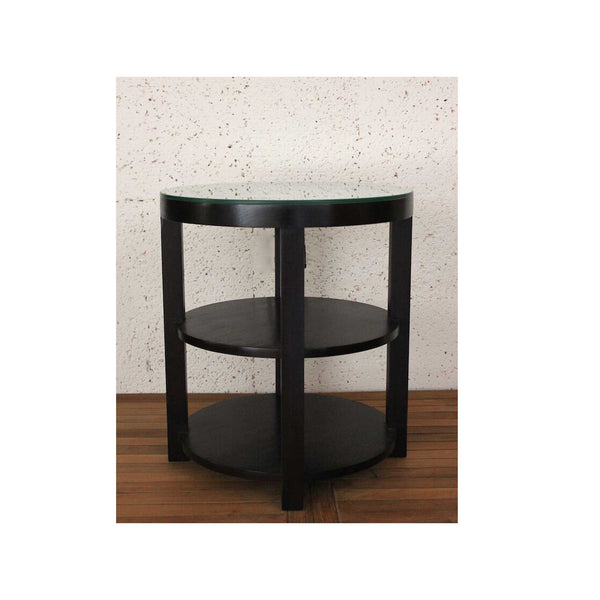 Round Drink Table with Shelf