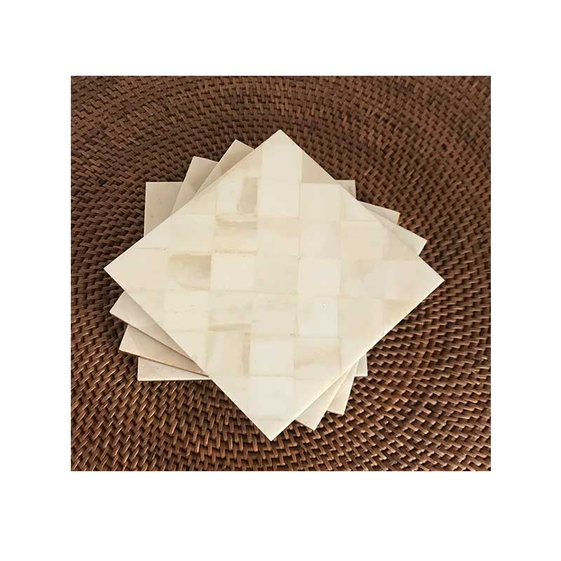 White Bone Square Coasters