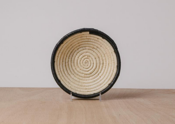 Dipped Black & Natural Raffia Jumbo Basket