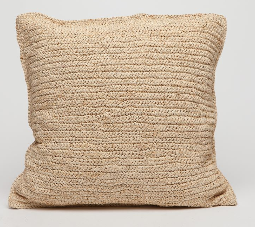 Hand Crocheted Raffia Pillow