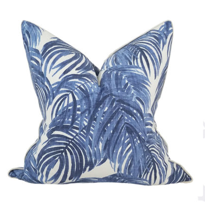 Blue Palm Pillow