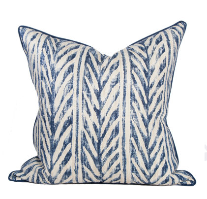 Blue Thatched Herringbone Pillow