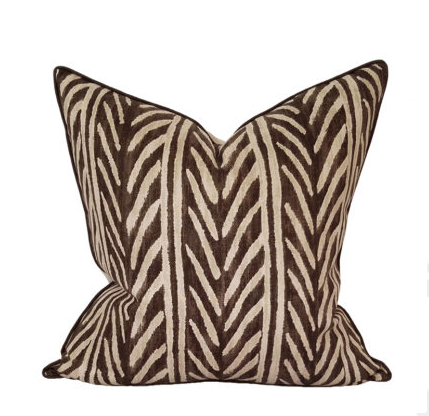 Brown Thatched Herringbone Pillow