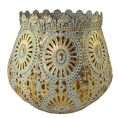 Gold & Turquoise Candle Holder