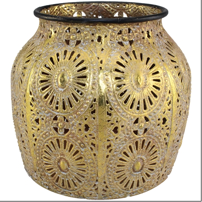 Gold Medallion Candle Holder