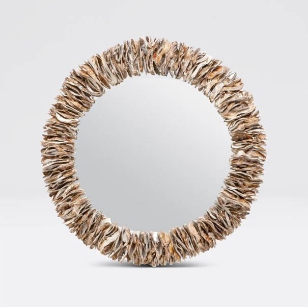 Natural Oyster Shell Mirror Round
