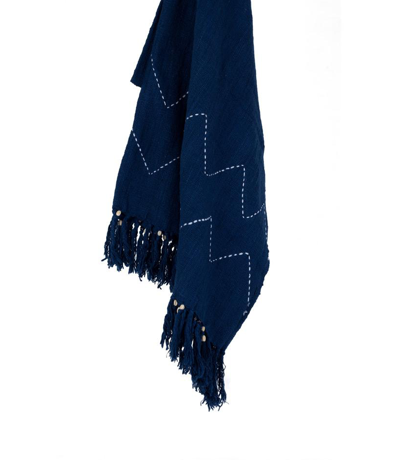 Natural Throw Blanket Navy