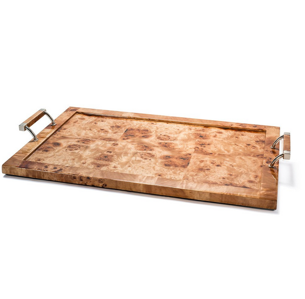 Natural Burl Veneer Serving Tray