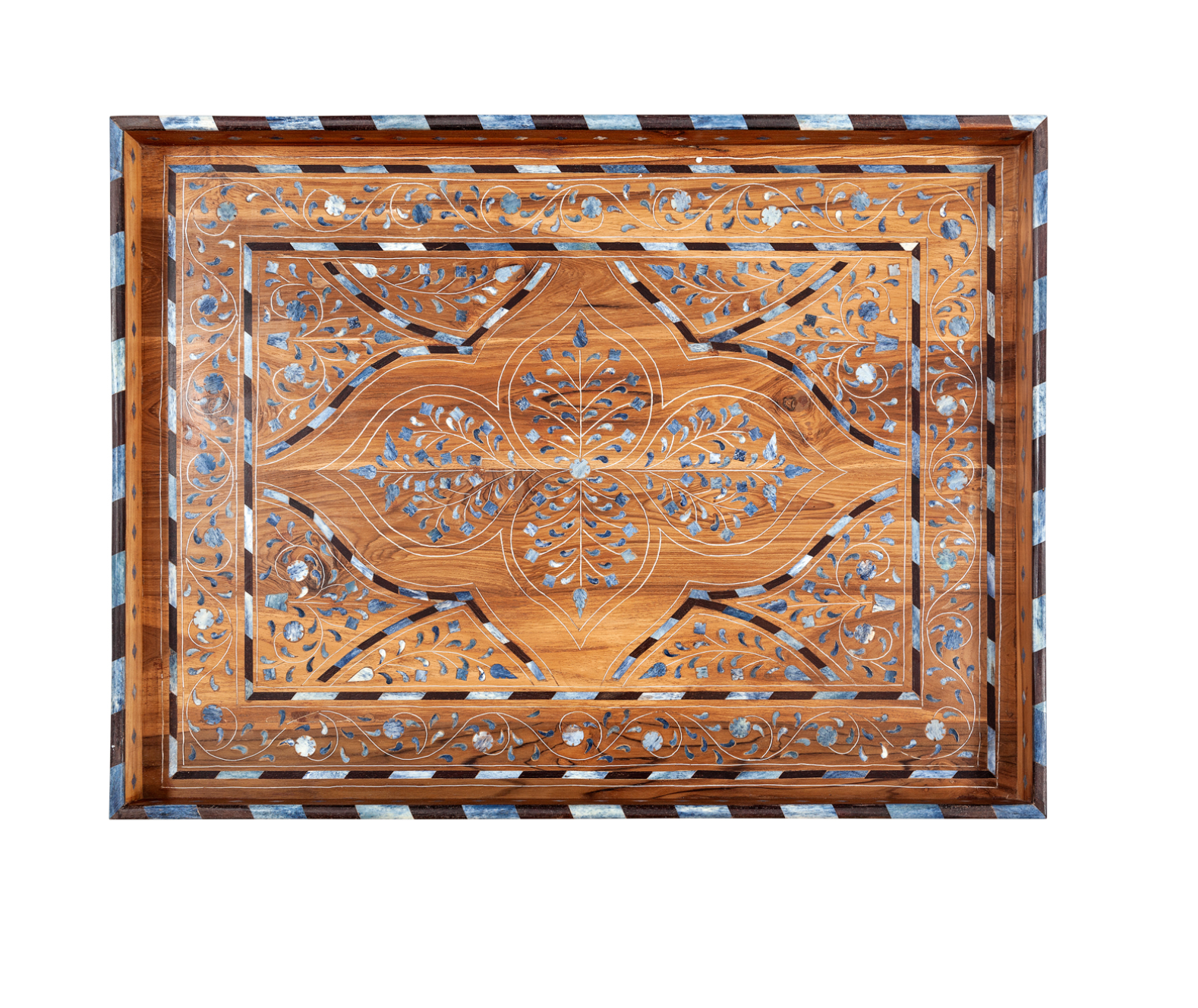 Wood and Blue Bone-Inlay Tray